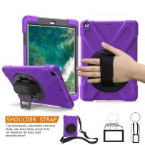 iPad 6th 5th Generation Case for Kids,TSQ Three Layer Hybrid Silicon Hard Defender Bumper Drop Protection Car Case with 360 Degree Rotation Stand,Handle Hand Strap&Neck Shoulder Strap Students Purple