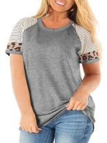 ROSRISS Womens Plus Size Raglan Short Sleeve Striped T Shirts Leopard Print Casual Tee Tops