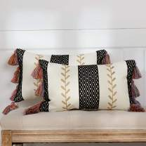 """Bohemian Black Moroccan Lumbar Pillow Cover Set of 2, Boho Embroidered Tassel Pillow Case with Morocco Textured & Golden Leaf, Decorative Small Pillowcase for Couch Sofa Outdoor, 2 Pack 12""""x20"""""""