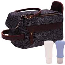 Canvas Leather Travel Toiletry Bag Shaving Dopp Kit Cosmetic Makeup Organizer A009 (Gray)