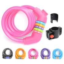 ZHEGE Bike Lock, Resettable Combo Cable Lock with Mounting Bracket for Bicycle Outdoors, 1.1m /12mm