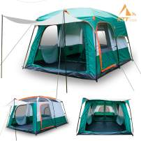 KTT Large Tent 8~10 Person,Family Cabin Tents for Camping,Waterproof,2 Rooms,Double Layer,3 Doors and 3 Window with Mesh,Big Tent for Outdoor,Picnic,Camping,Family,Friends Gathering.