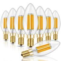 Hizashi 6W 850 Lumen Candelabra LED Bulbs 60W-80W Equivalent Dimmable E12 LED Filament Bulb 2700K Warm White Chandelier Light Bulbs, High Brightness LED Lights for Room, UL Listed - 8 Pack