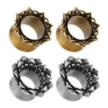 TBOSEN 4PCS Set Gauges for Ears Copper Plugs and Tunnels Stainless Steel Ear Tunnels Size 2g - 5/8