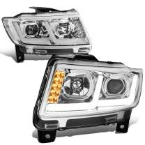 Replacement for Jeep Grand Cherokee 11-13 Chrome Housing Clear Corner LED DRL Projector Headlight/Lamps