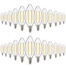 Sunco Lighting 24 Pack B11 LED Candelabra Bulb, Dimmable, Filament, 4W=40W, 2700K Soft White, 300 LM, E12 Base, Waterproof Glass Light for Chandelier - UL & Energy Star