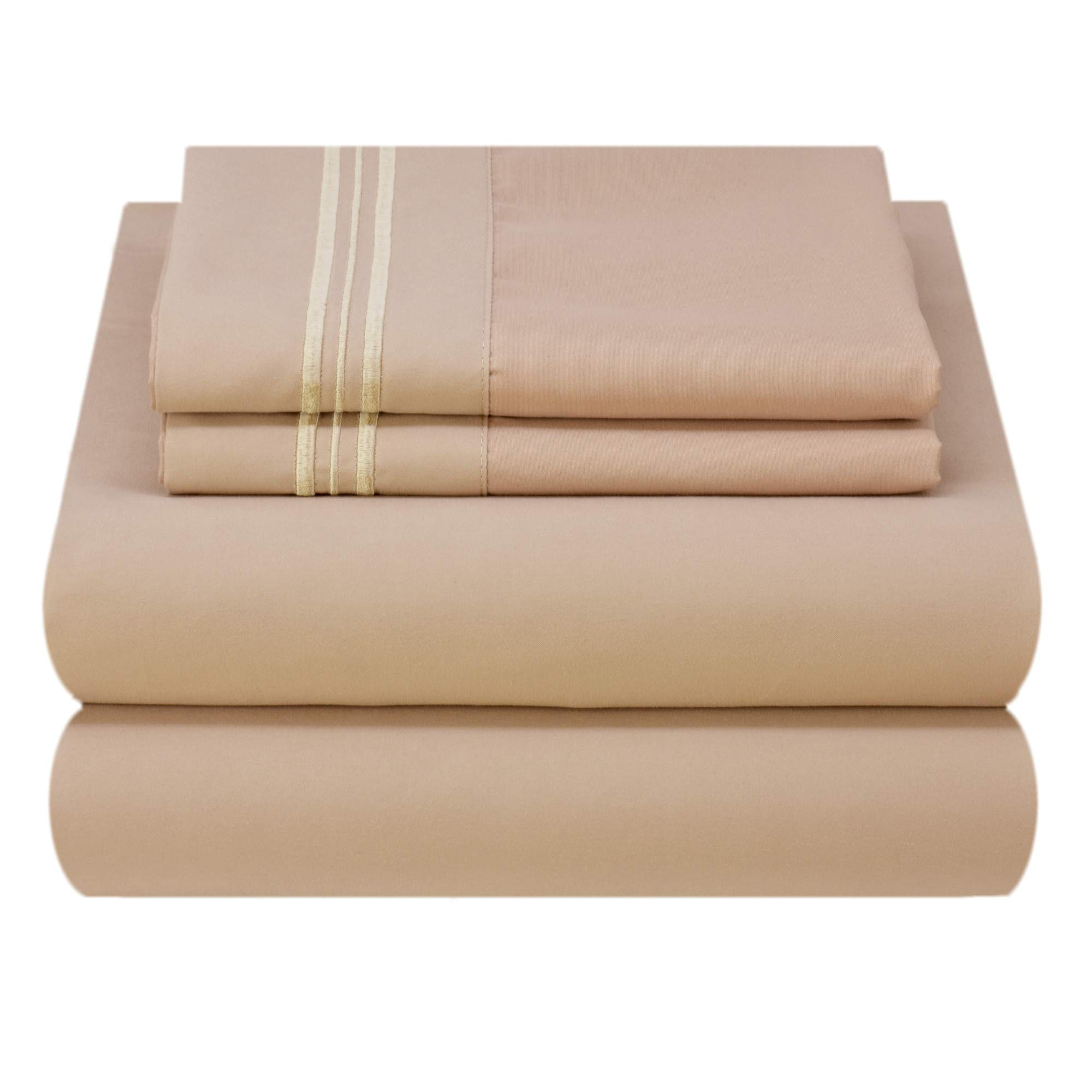 Mezzati Luxury Bed Sheet Set - Soft and Comfortable 1800 Prestige Collection - Brushed Microfiber Bedding (Cappuccino, Twin XL Size)
