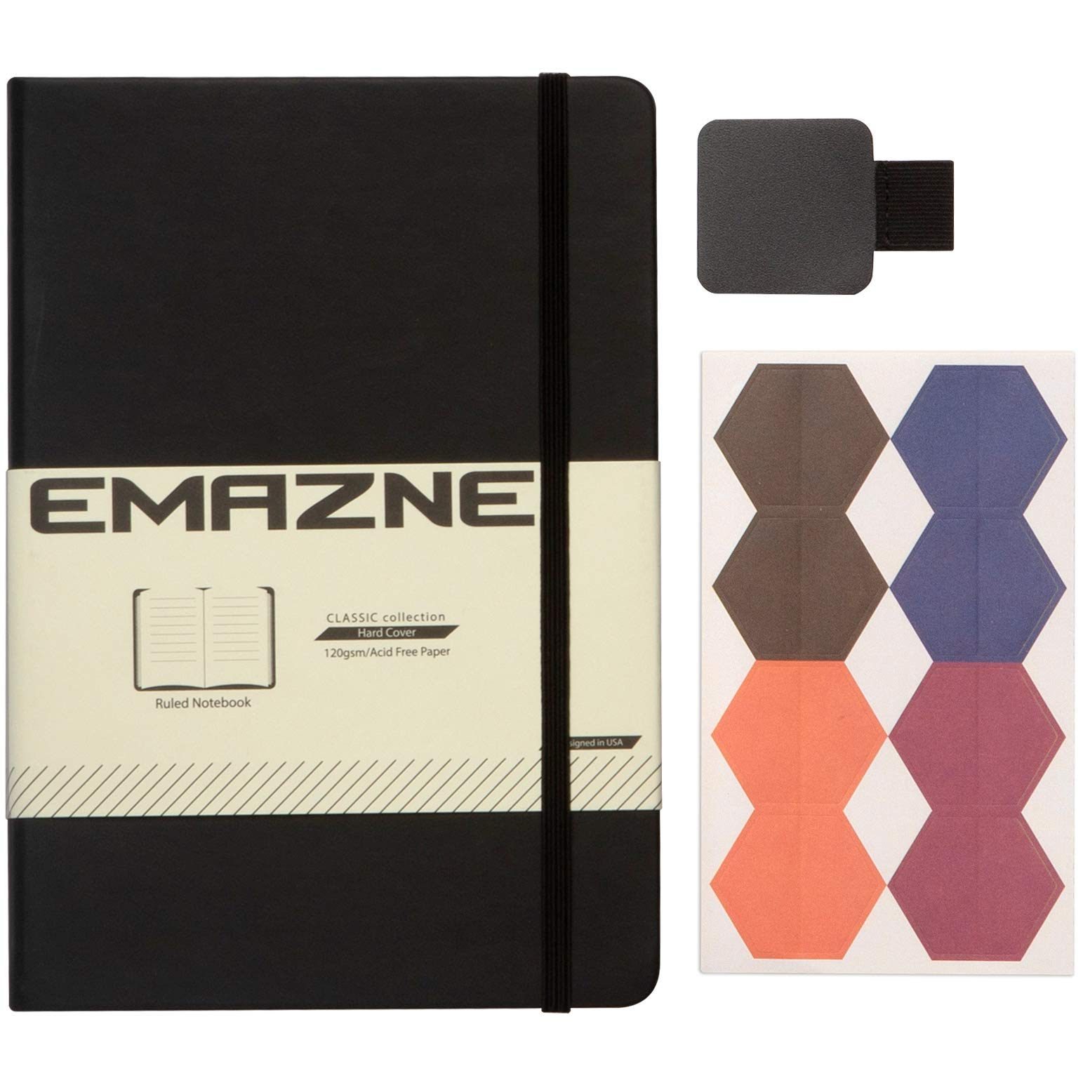 """Emazne Ruled Pages Black Classic Hardcover Notebook with Pen Loop,Bookmark,Size:A5 (5.7"""" x 8.25""""),Premium Thick 120gsm Paper,PU Leather,Inner Pocket,(Free Gift-Tabs Flags)