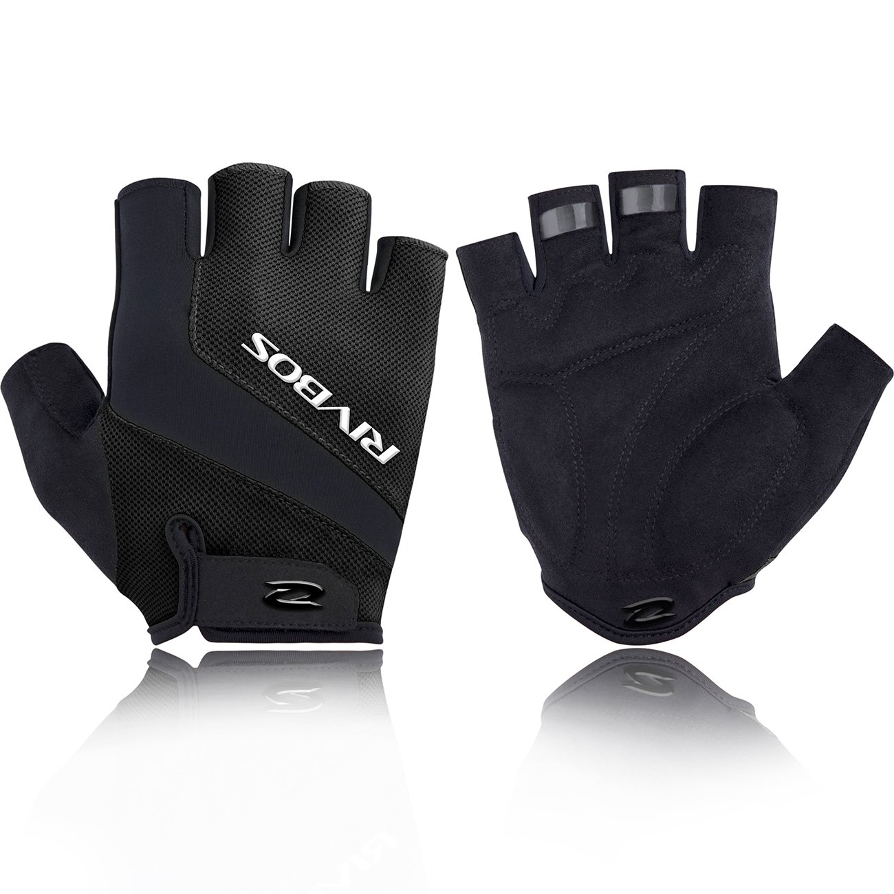 RIVBOS Motorcycle Bicycle Mountain Bike Gloves for Men Women Cycling Riding Driving Sports Outdoors Exercise with Fingerless Fashion Design Foam Padding Breathable Mesh CHG001