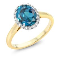 Gem Stone King 10K 2-Tone Gold London Blue Topaz and Diamond Women Halo Engagement Ring (1.80 Cttw, Oval 9X7MM, Available 5,6,7,8,9)
