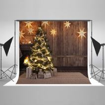 Kate 10×10ft Christmas Backdrop Wooden with Lights Stars Xmas Photography Background Cotton Seamless Photo Studio Booth for Happy New Year Photography
