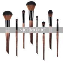 8PCS Makeup Brush Set,Soft Hair Wooden Handle Cosmetics Brushes, Foundation Blush Face Concealer Eyeliner Eye Shadow Brush Set for Powder Liquid Cream