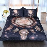 Sleepwish Dreamcatcher Bedding 3 Piece Native American Duvet Covers Glitter Bedspread Black Rose Gold Dream Catcher Bed Set (King)