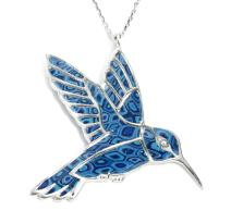925 Sterling Silver Hummingbird Necklace Pendant Handmade Polymer Clay Bird Jewelry, 16.5""