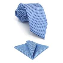 S&W SHLAX&WING Mens Tie Set Extra Long Necktie with Pocket Square Solid Color 08