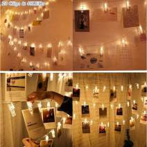 Juhefa Photo Clip String Lights, Battery Powered 40 LEDs Fairy Lights with 20 Clear Clips for Hanging Pictures/Christmas/Party/Halloween Decor (Warm White)