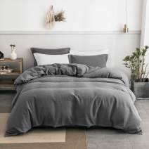 PHF 100% Cotton Waffle Weave Duvet Cover Set Soft Cozy Breathable for Winter Queen Size Grey