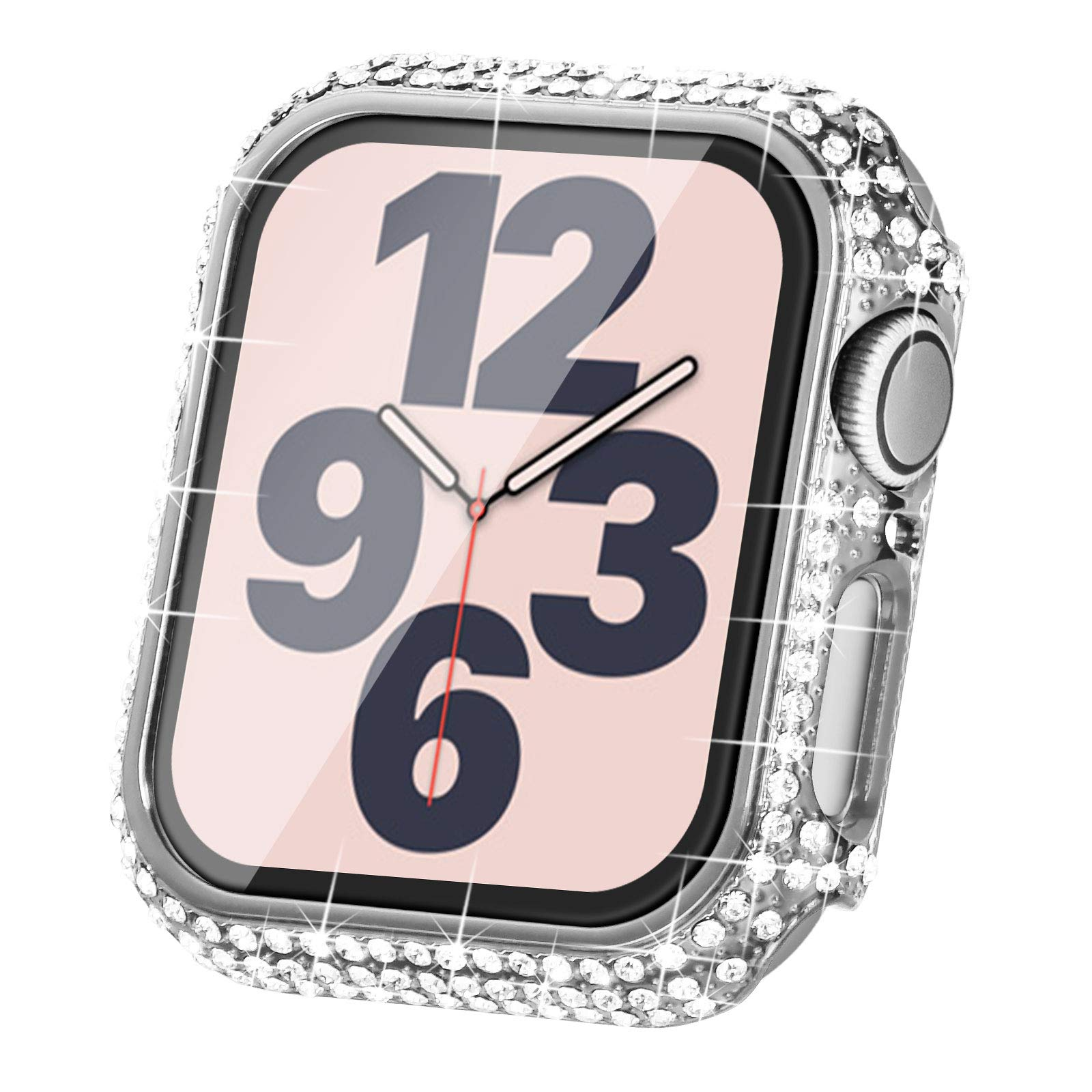 Surace Compatible with Apple Watch Case 40mm for Apple Watch Series 6/5/4/3/2/1, Bling Cases with Over 200 Crystal Diamond Protective Cover Bumper for 38mm 40mm 42mm 44mm, Silver