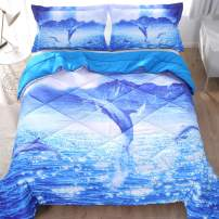 ENJOHOS 3D Dolphin Girl Bedding Set Twin Size Sparkly Ocean Surface Under Blue Galaxy Sky Night Print Comforter Ultra Soft All Year Round Bedspread 3 Pieces Animal Duvet Set for Kids and Children