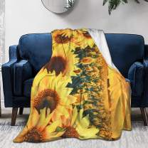 KING DARE Sunset Sunflower Sofa Blanket, Lightweight Travel Blanket, Cozy Plush Keep Warm Throws Blankets for Baby/Kids/Youth/Adult 80x60 inch