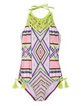 Hilor Girl's Bikini Swimwear Tassels One Piece Swimsuit Halter High Neck Monokinis
