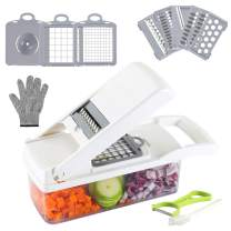 Valuetools Onion Chopper Vegetable Chopper Mandoline Slicer Dicer Multi-Functional Interchangeable Blades with Colander Basket And Container Food Chopper Onion Cutter with Protective Gloves