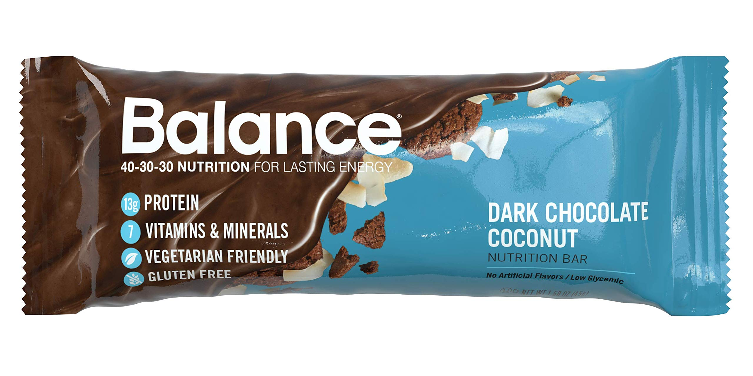 Balance Bar, Healthy Protein Snacks, Dark Chocolate Coconut, With Vitamin A, Vitamin C, and Vitamin D to Support Immune Health, 1.58 oz, Pack of 6