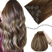 Easyouth 22inch Remy Clip in Extensions Balayage Human Hair Dark Brown to Strawberry Blonde Highlights Ombre Silky Straight Thick Clip in Real Hair Extensions for Women 7pcs 120g