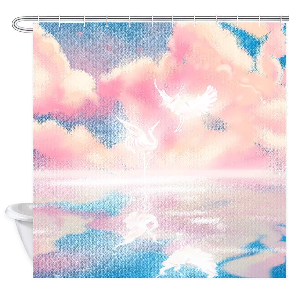 TEALP Watercolor Shower Curtain for Girls, Fairy Tale Waterproof Fabric Bath Curtain 12PCS Drapes Hooks, 72 x 72 Inch, (Crane)