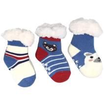 3 Pair Winter Kids Fuzzy Slipper Socks Boys Thermal Warm Non-Skid Home Socks,Gifts for Christmas Stocking Stuffers