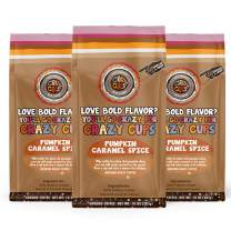 Crazy Cups Flavored Ground Coffee, Pumpkin Caramel Spice Coffee, in 10 oz Bags, For Brewing Flavored Hot or Iced Pumpkin Spice Coffee, 3 Pack