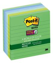 Post-it Recycled Super Sticky Notes, 2x Sticking Power, 4 in x 4 in, Bora Bora Collection, Lined, 6 Pads/Pack, 90 Sheets/Pad (675-6SST),Orchid;banana;kiwi;tropical Blue;wild Cherry