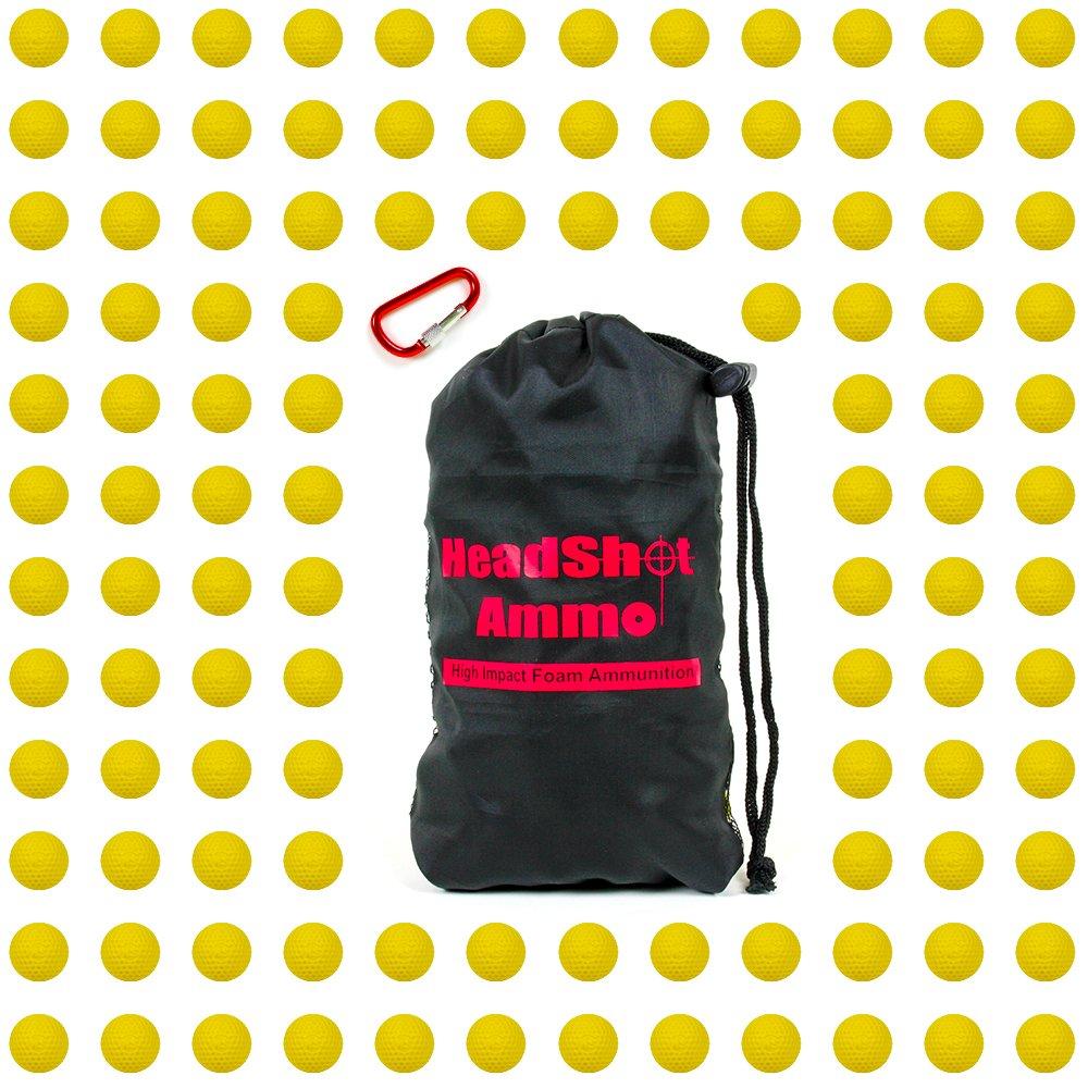 HeadShot Ammo Yellow Bulk Foam Bullet Ball Replacement Refill Pack, Compatible with Nerf Rival Blasters Prometheus, Apollo, Zeus, Khaos, Atlas, Artemis, Kronos & Nemesis, (110 Rounds, Yellow)