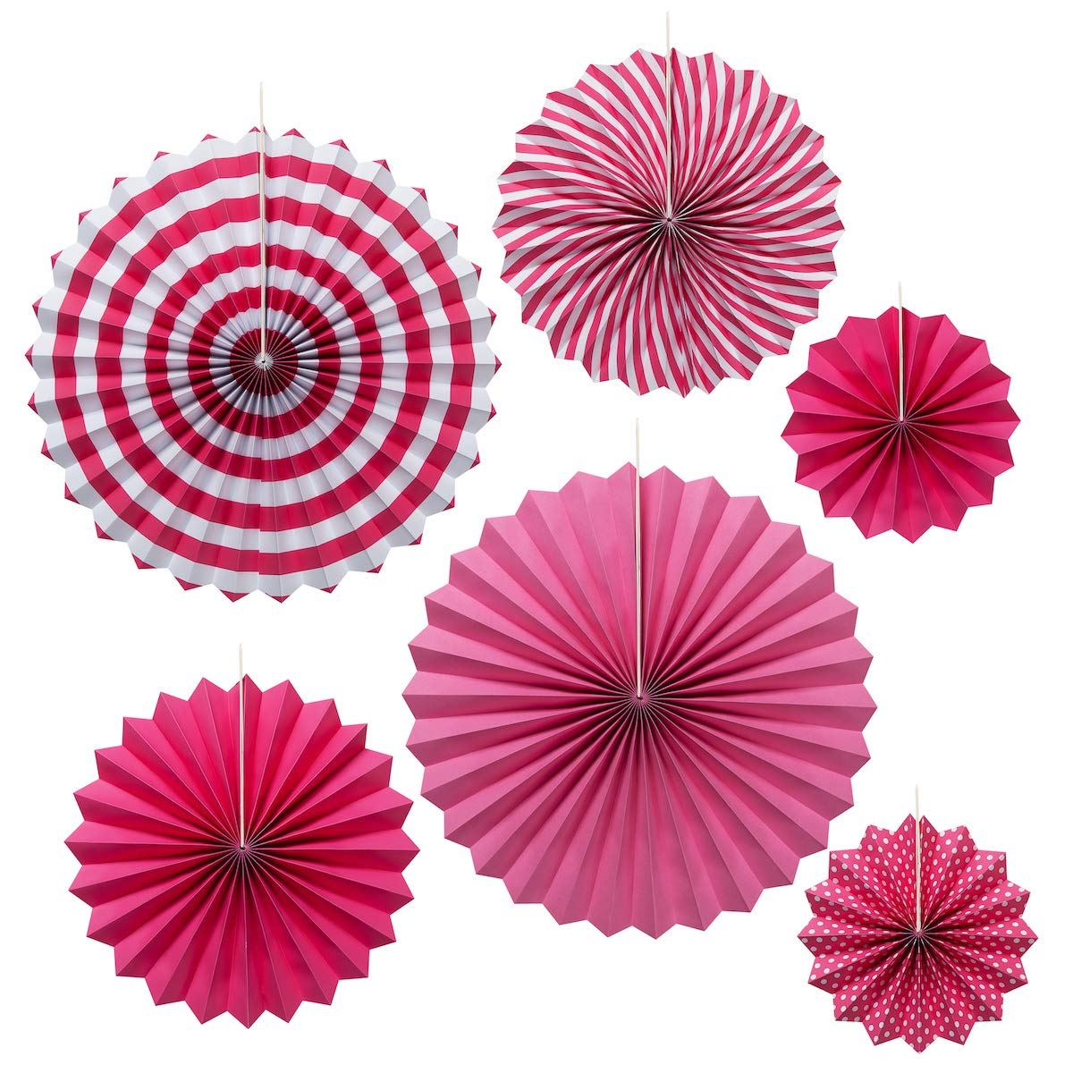 OnUpgo Pink Paper Fans Party Decoration Hanging Paper Fans Flower Set, Round Pattern Paper Garlands Decoration Favors for Wedding Birthday Party Baby Showers Events Accessories