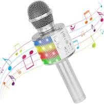 Wireless Karaoke Microphone, Bluetooth Portable Handheld Microphone Karaoke Machine with LED Lights, Singing & Recording Speaker Mic Best Gift Toy for Kids Adults Birthday/Party/Christmas/Home KTV