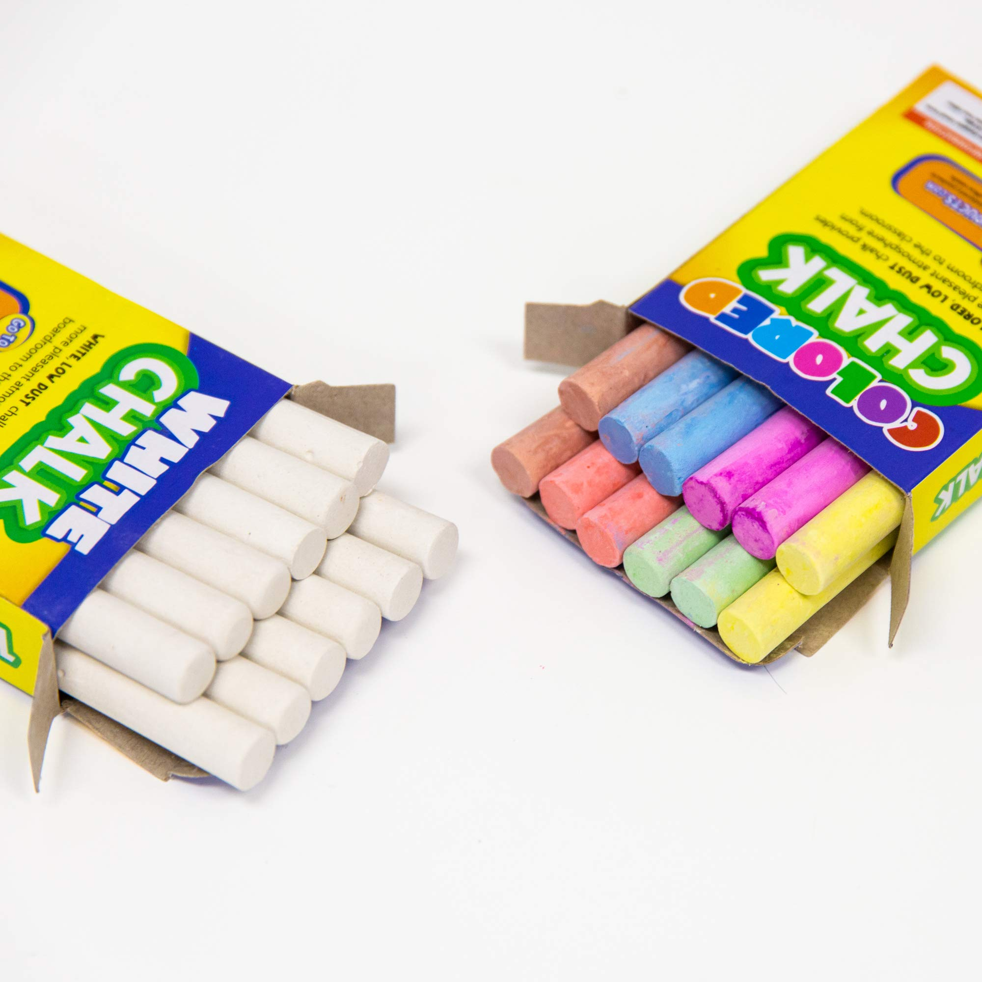 BAZIC 6 Color & White Chalk w/Eraser Set, Blackboard Chalkboard Chalks, Great Game Activity for Kids, Art Teacher Office Classroom Store Home
