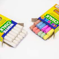 BAZIC 6 Color & White Chalk w/Eraser Set, Blackboard Chalkboard Chalks, Great Game Activity for Kids, Art Teacher Office Classroom Store Home