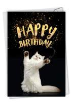 Cat-Sent - Happy Birthday Card with Envelope (4.63 x 6.75 Inch) - Cat, Pet Fun Stationery Appreciation Notecard - Hilarious Bday Celebration Notecard for Animal Lovers C6112ABPG