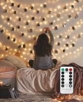 LiyuanQ 8 Modes 40 LED Photo Clip String Lights with Remote, Indoor Fairy String Lights for Hanging Photos Pictures Cards, Ideal Gift for Party Bedroom Decoration (Battery Operated 40 LED)