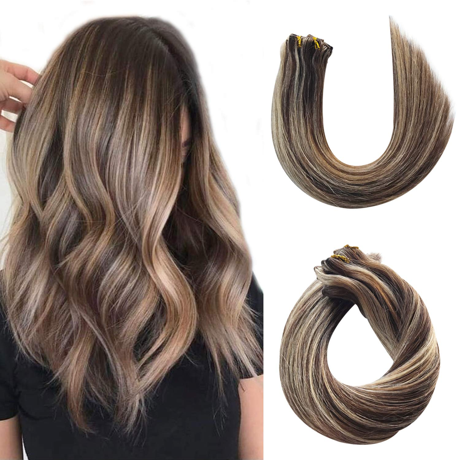 Clip in Remy Hair Extensions Real Human Hair Extensions Clip on for Women Double Weft Medium Brown with Strawberry Blonde Highlights 120g Thicken Full Head Natural Ponytail 7pcs 17 Clips 14 Inch