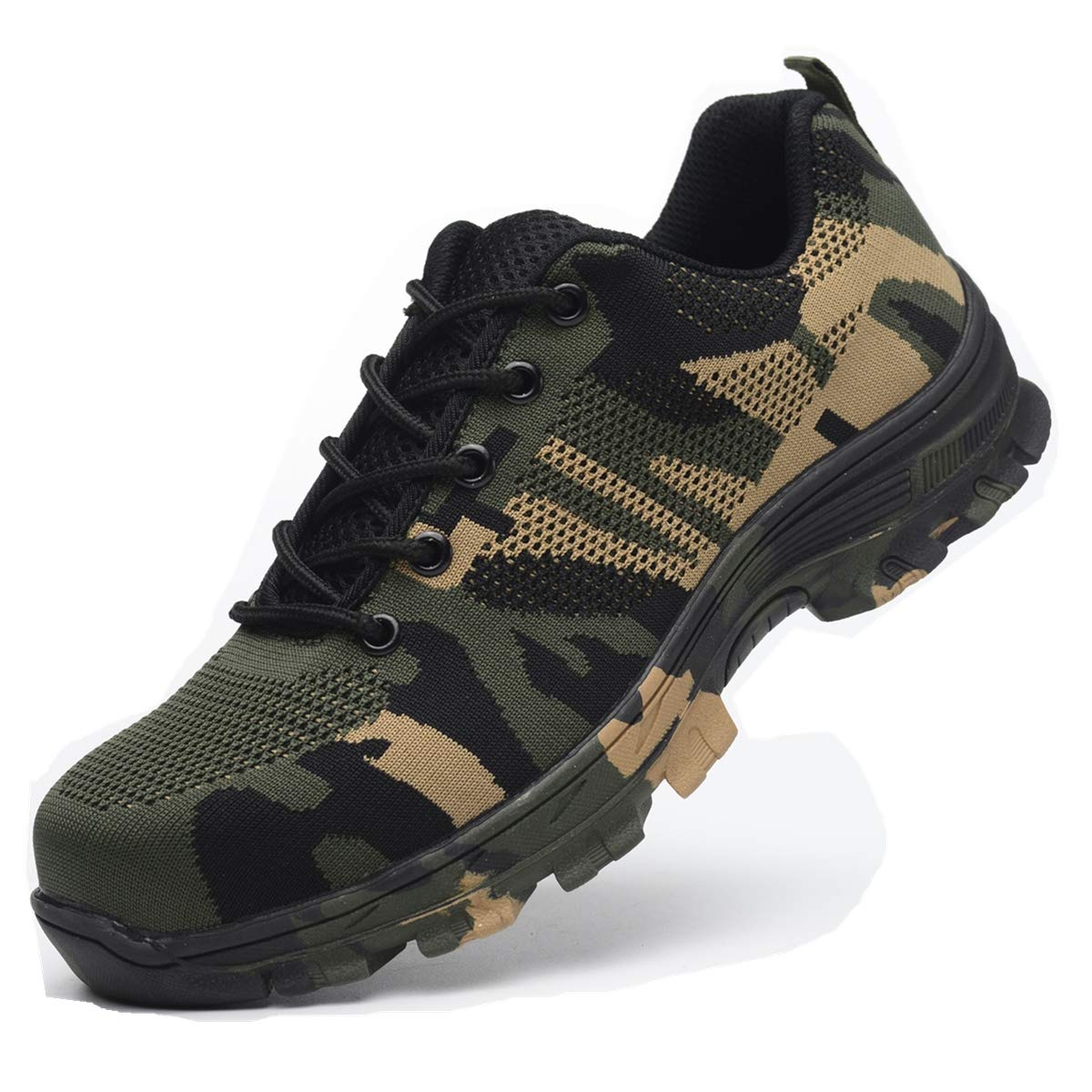 Luolocsn Work Steel Toe Shoes Camo Safety Shoes for Men and Women Lightweight Industrial & Construction Shoe