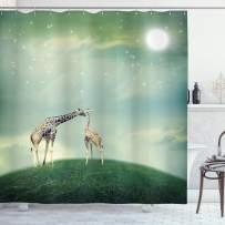 "Ambesonne Giraffe Shower Curtain, Mother Child Animal on Meadow Fairytale Atmosphere Stars Romance Moon Image, Cloth Fabric Bathroom Decor Set with Hooks, 70"" Long, Green Teal"