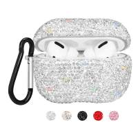 SAVORI Compatible for Airpods Pro Case Cute Bling Crystal Rhinestone AirPod Pro Protective Case Cover Shockproof with Keychain for 2019 AirPods Pro Charging Case (White)