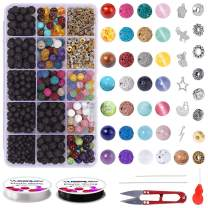 Bracelet Making Kit Beads Bulk - 650PCS Color Lava Rock Beads Bulk 100% Natural Amazonite Gemstone Bead Chakra Bead Spacer Bead Glass Bead with 2 Rolls Crystal String Bracelet Charm for Jewelry Making