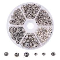 PH PandaHall 260pcs 6 Style Tibetan Silver Spacer Beads Bicone Jewelry Beads Metal Spacers for Bracelet Necklace Making Supplies