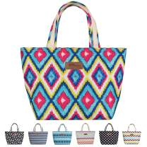 HOMESPON Insulated Lunch Bag Cooler Tote with Back Pocket for Woman Man Work Picnic or Travel (Colorful Rhombus)