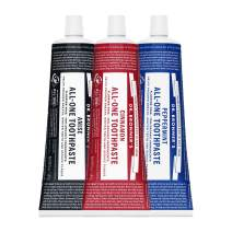 Dr. Bronner's - All-One Toothpaste (3-Pack Variety) 5 Ounce Peppermint, Cinnamon, Anise - 70% Organic Ingredients, Natural and Effective, Fluoride-Free, SLS-Free, Helps Freshen Breath, Reduce Plaque