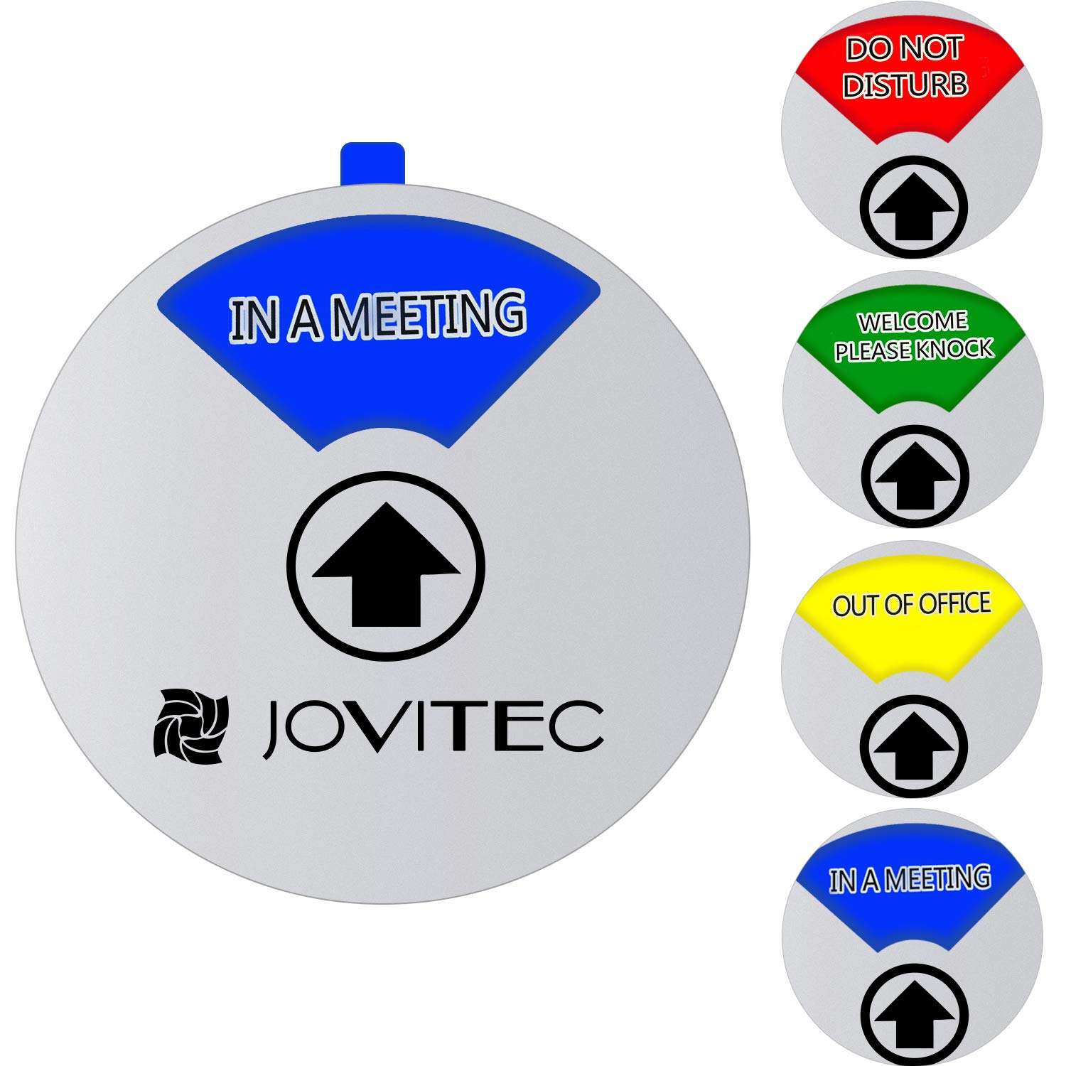 Jovitec Privacy Sign Office Sign, Include in a Meeting Sign Welcome Please Knock Sign Do Not Disturb Sign Out of Office Sign for Home Office Supplies (Color 2, 4.7 Inches)