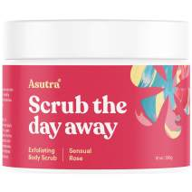 ASUTRA Dead Sea Salt Body Scrub Exfoliator (Sensual Rose), 12 oz | Ultra Hydrating, Gentle, Moisturizing | All Natural & Organic Jojoba, Sweet Almond, Argan Oils