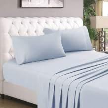 HOMEIDEAS 4 Piece Bed Sheet Set (Full, Artic Ice Blue) 100% Brushed Microfiber 1800 Bedding Sheets - Deep Pockets